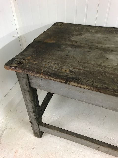 Industrial French Work Table - Original Paint - fd875